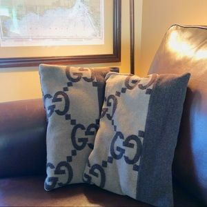 Gucci Monogram Throw Pillows GG Set of 2 Brown